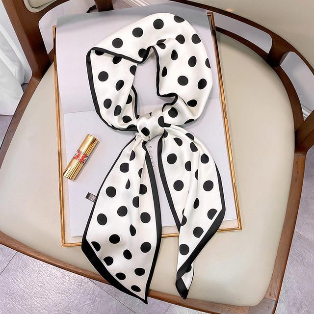 2021 Design Brand Women Scarf Small Narrow Skinny Silk Scarfs Bags Ribbon Tie Band Foualrd Neckerchief Hair Neck Scarves Female