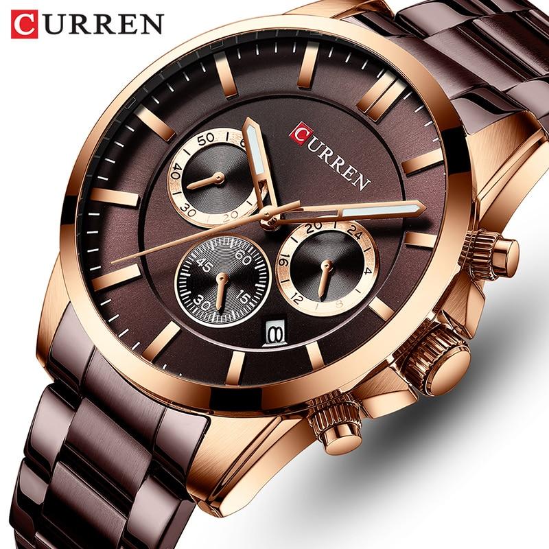 Marca de Topo Esportivo dos Homens Relógio de Pulso Curren Relógio Moda Quartzo Negócios Senhores Aço Inoxidável Militar Masculino