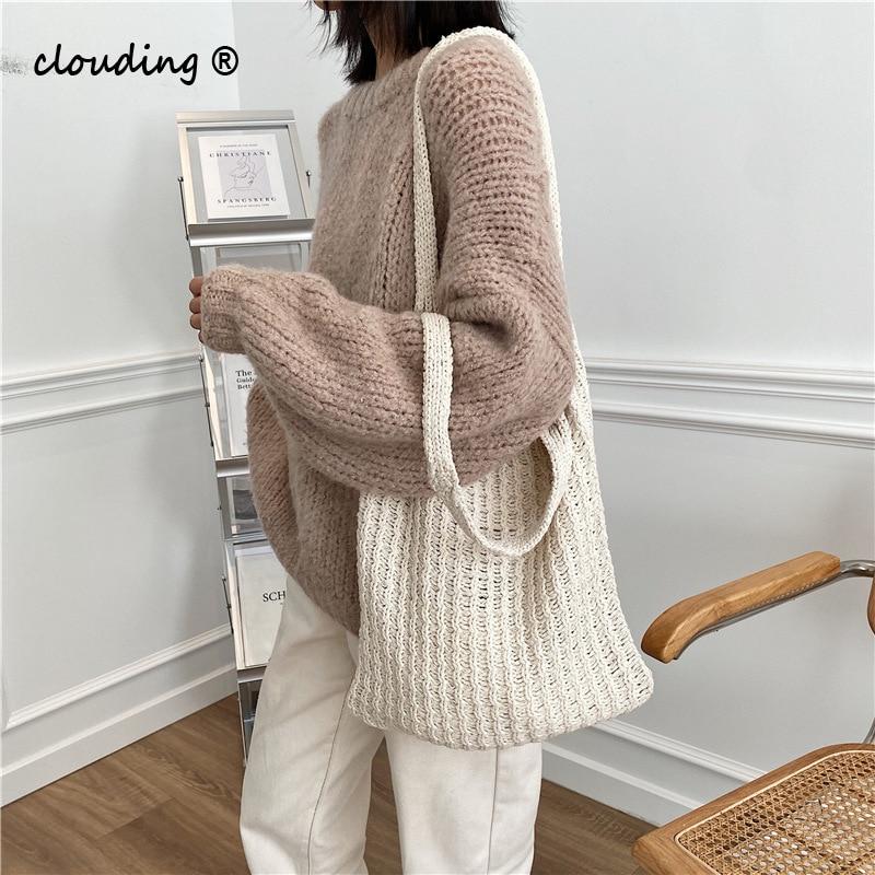 Bolsa de Compras para as Mulheres lã de Malha Nova Ombro Moda Vintage Algodão Pano Meninas Tote Shopper Bolsa Grande Feminina 2021