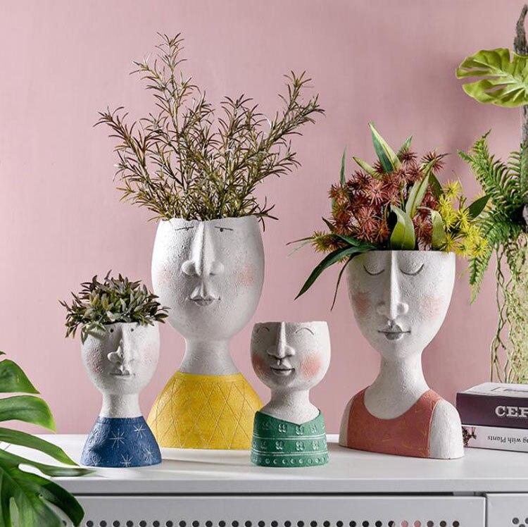 Arte Creativo retrato jarrón escultórico maceta de flores cesta de flores jardín Almacenamiento de flores decoración del hogar hormigón hecho a mano