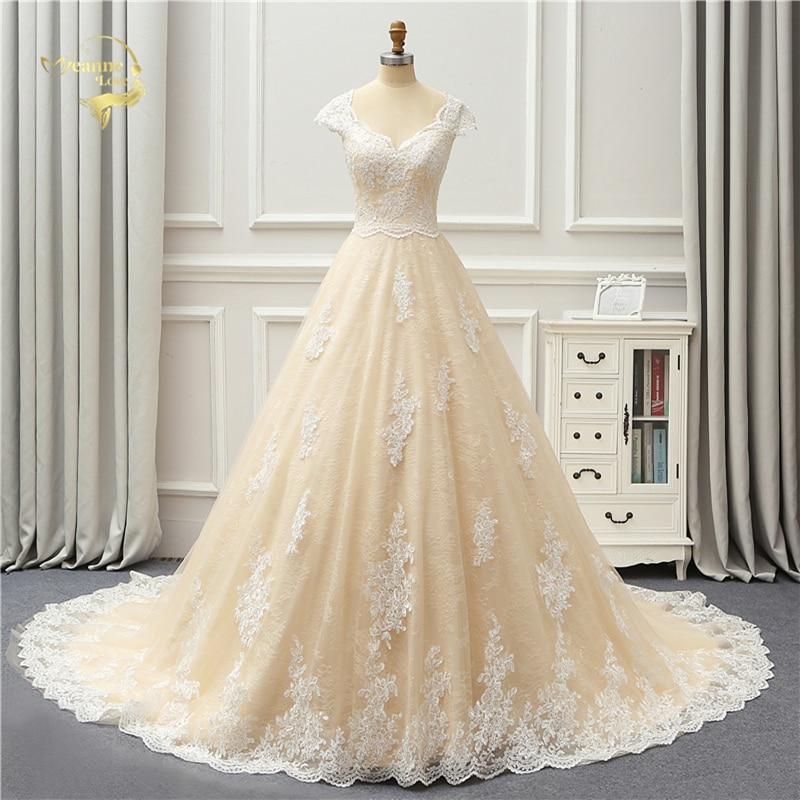 فستان زفاف فاخر من الدانتيل ، عتيق ، جودة عالية ، لون شامبانيا ، أكمام قبعة ، أزرار ، مجموعة جديدة 2021