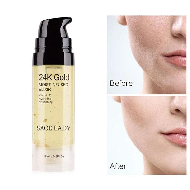 SACE LADY 24K Gold Face Primer profesional hidratante Base poros cosmético húmedo aceite Base 6ml