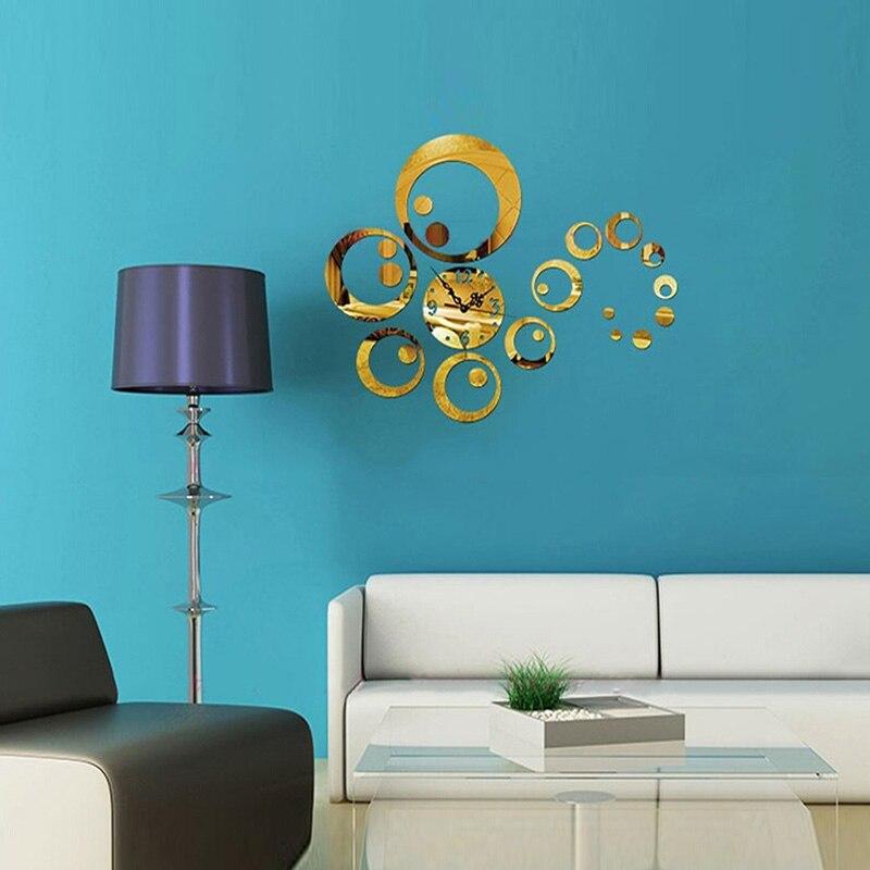 Modern 3D Wall Clock Acrylic Circles Mirror Wall Sticker Clock Decoration Living Room Decor