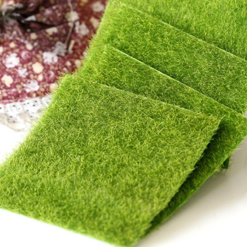 1 pçs mini jardim de fadas plantas simulação artificial falso musgo gramado relvado grama verde micro paisagem decoração 15x15cm