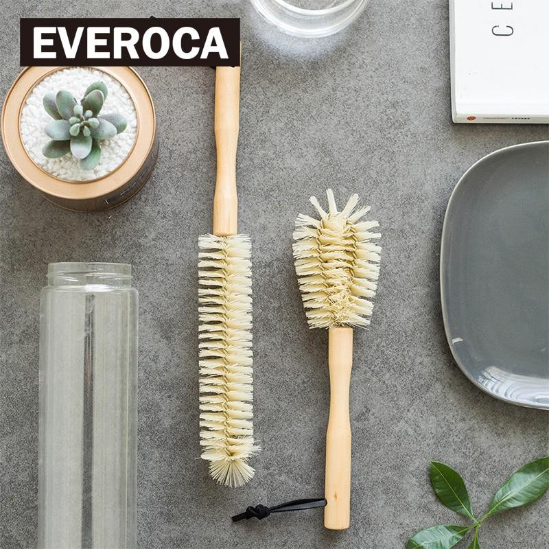 Punho longo copo escova de madeira em linha reta garrafa de náilon esfrega escova limpa zakka mantimentos punho de madeira gancho