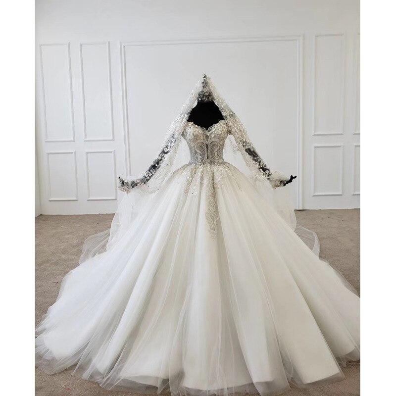 BGW HT4724 2020 فساتين زفاف الأميرة مزينة بالترتر وأكمام قصيرة فساتين زفاف جديدة Vestidos De Novia Corte Princesa