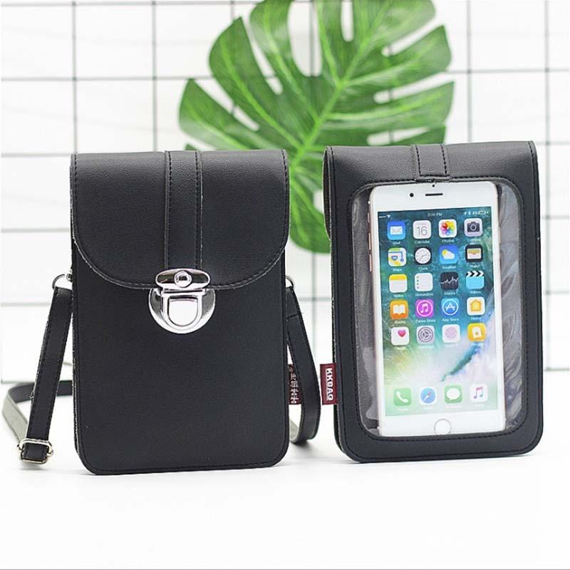Сумка для мобильного телефона из кожи SUBIN с сенсорным экраном и карманом на плече, чехол-кошелек с шейным ремешком и задней крышкой Hyaline