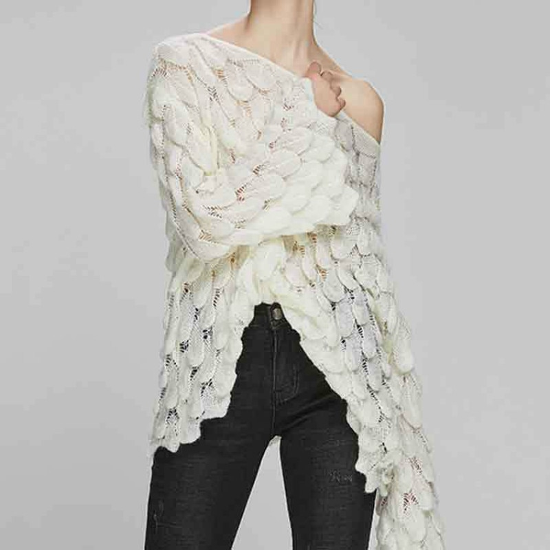 Leiouna Lange Hülse Beiläufige Dünne Feste Feder Stricken Pullover Frauen Lose Pullover Pullover Frühling Herbst Perspektive frauen Top