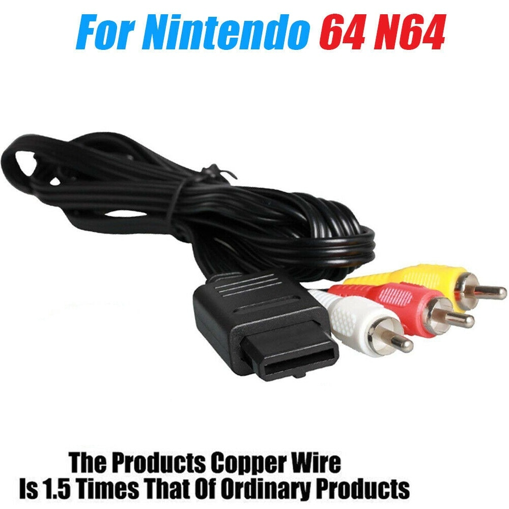 REPLACEMENT AV AUDIO VIDEO A/V CABLE CORD WIRE TV GAME HTE CABLE FOR NINTENDO 64 SNES GAME CUBE