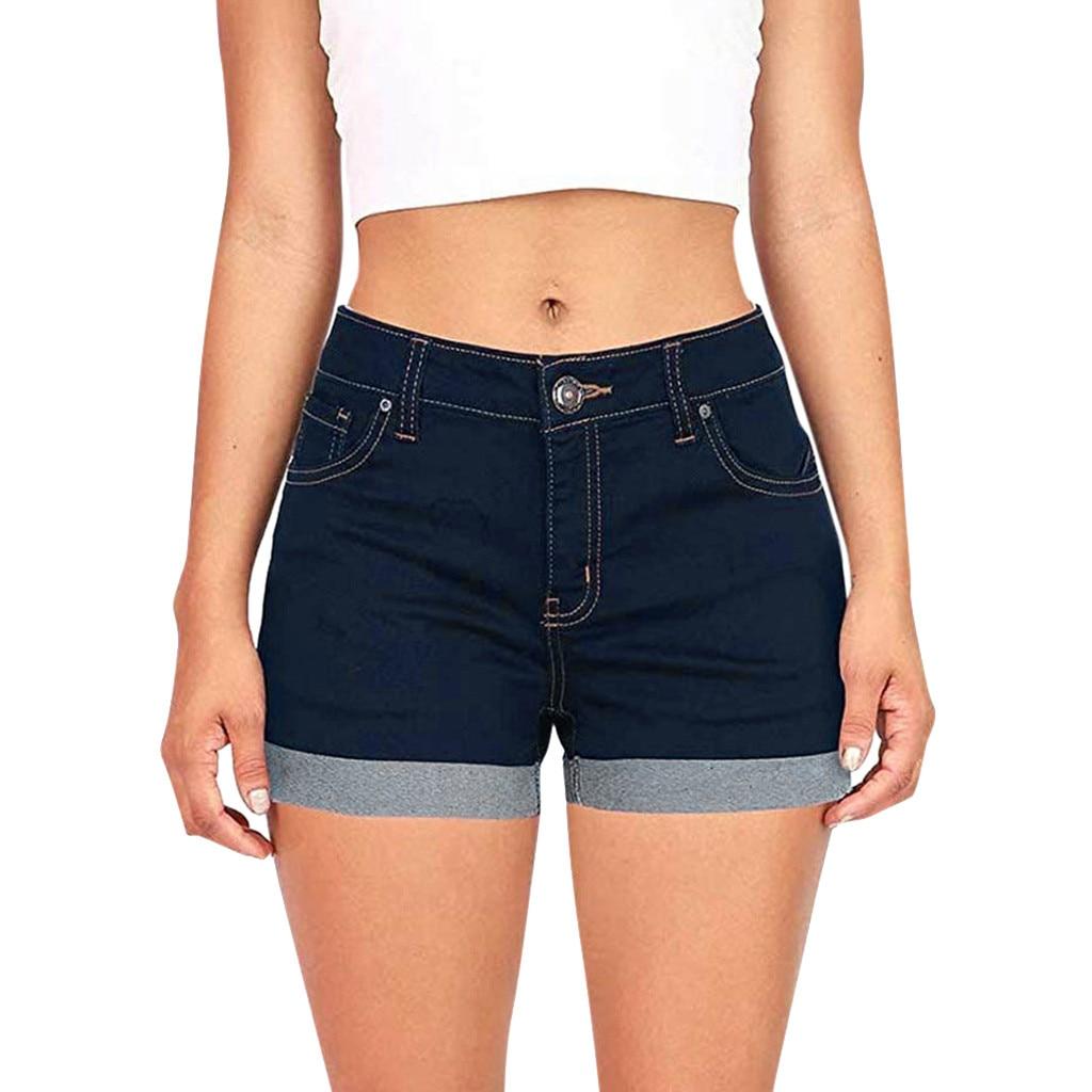 Fashion Low Waisted Washed Denim Shorts Female Short Jeans for Women 2019 Summer Ladies Hot Shorts solid crimping denim shorts