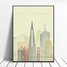 San Francisco Skyline Canvas Schilderij Art Print Poster Foto Muur Moderne Minimalistische Slaapkamer Woonkamer Decoratie