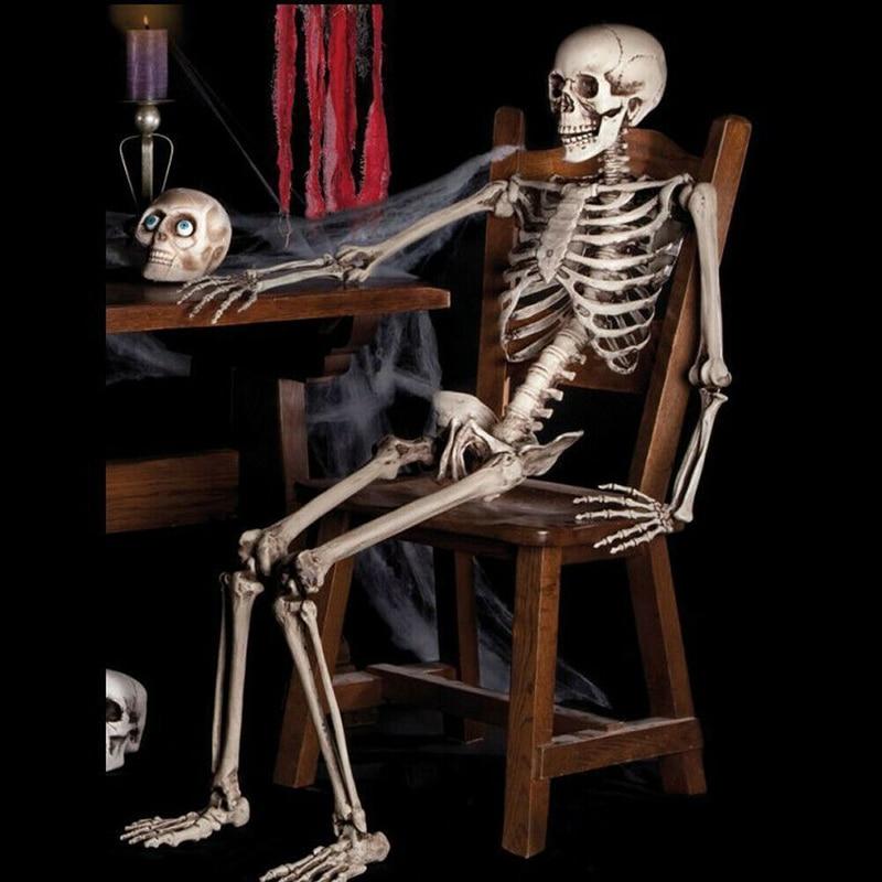 Esqueleto humano modelo esqueleto de anatomía decoración de fiesta de Halloween esqueleto humano articulaciones poseables pequeño cuerpo completo huesos modelo.