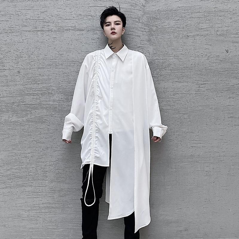 قميص رجالي غير متماثل بأكمام طويلة ، ملابس الشارع ، Harajuku ، ملابس المسرح