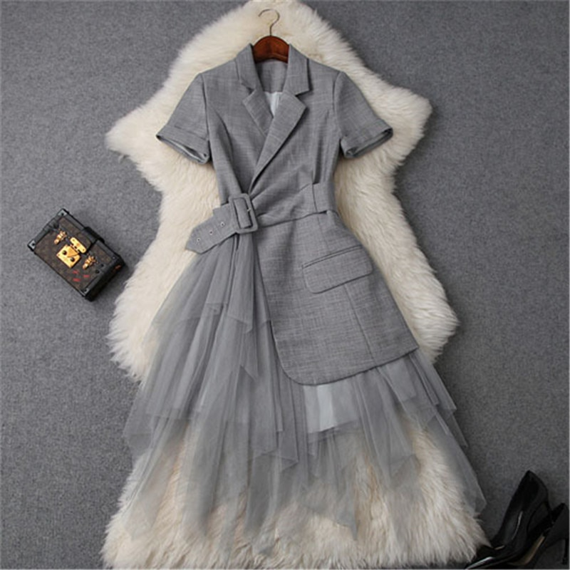 CBAFU-robe longue en tulle, col crissé, blazer, patchwork, robe longue dété de soirée et de bureau, avec ceinture, manches courtes, tulle, OL, P885