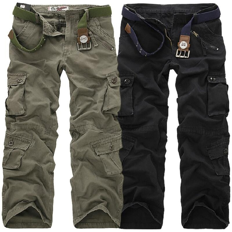 Men Cargo Pants High Quality Casual Long Trousers Loose Multi Pocket Camouflage Military Pants Men's street Joggers Plus Size 44