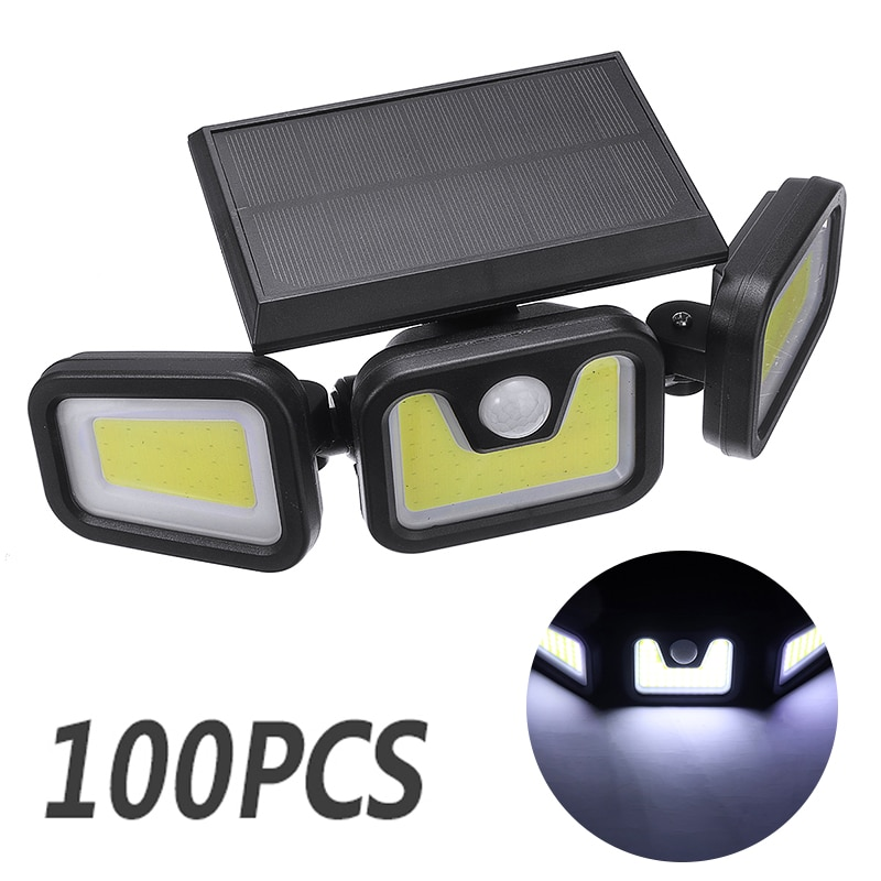 100 LED Solar Powered Wall Spotlight Outdoor Wall Flood Light with Motion Detector Wall Lamp for Street Path Courtyard
