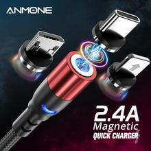 ANMONEสายUSB Micro USB USB Type C Fast CHARGINGสำหรับSamsung Huawei Xiaomi Redmi Android USB Cสายไฟ