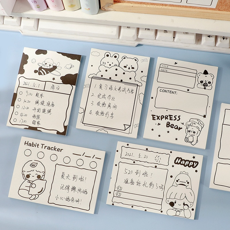 Black And White Illustration Sticky Notes Ins Cute Cartoon Simple Notes Student Hand Account Decoration Guestbook Stationery creative black white cat and little carton shape sticky notes