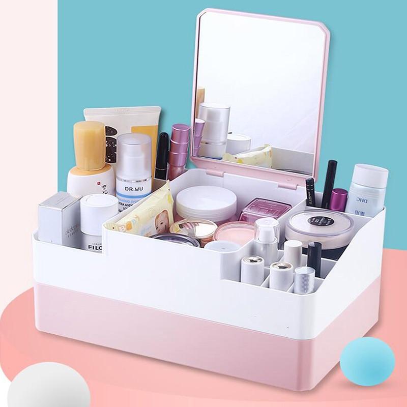 Caja de espejo almacenamiento cosmético escritorio pintalabios integrado producto cuidado de la piel caja de acabado caja de almacenamiento de cosméticos plegable caja de belleza