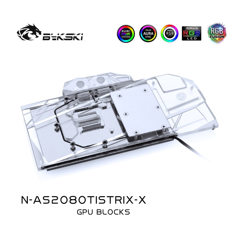 Bykski Water Block use for ASUS ROG STRIX-RTX2080TI-O11G-GAMING /Full Cover Copper Block/RGB Light/Compatible Original Backplate