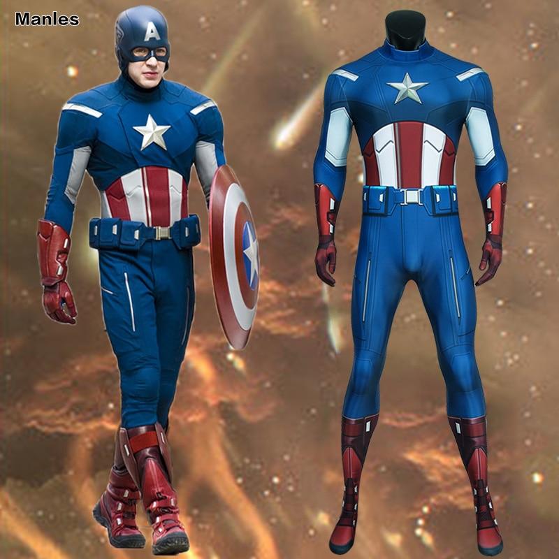 Traje de Capitán América de los vengadores de Marvel Cosplay Steve Rogers adulto Azul Rojo Halloween mono de Carnaval 3D Zentai Masculino