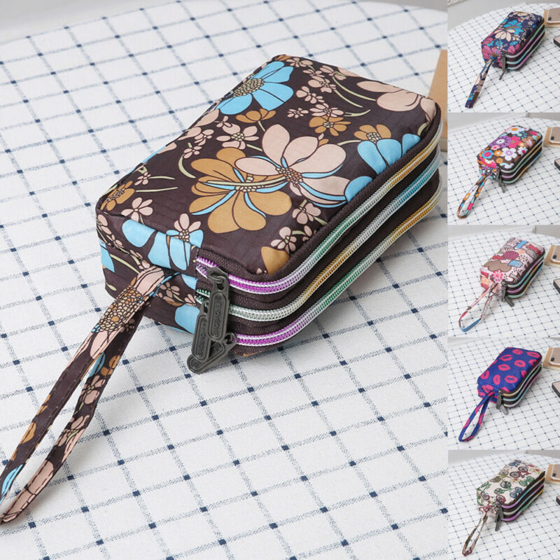 Women's Wallets Canvas Waterproof Phone Purse Wallets Wristlet Case Handbag Clutch Cosmetic Makeup Bags