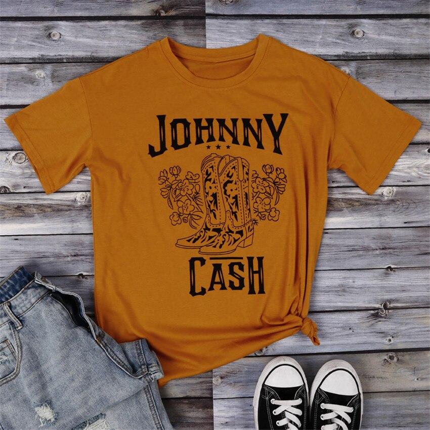 Camiseta amarilla para mujer, Camiseta con estampado de letras, botas, Top estampado, camisetas a la moda para mujer, Camiseta holgada de verano 2019, camiseta de manga corta con cuello redondo