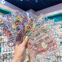 100pcs simple basic hair tie set elastic hairband colorful furry rubber band for kids girls women hair accessories