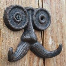 Bonito gancho de pared de hierro fundido Vintage para decoración del jardín del hogar con diseño largo de bigote para hombre mayor con dos colgadores, colgador de pared