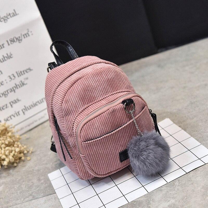 Estilo Preppy suave de la tela de las mujeres, mochila mujer de pana de la Escuela de Diseño bolsas para adolescentes chicas rayas mochilas femenino Packbags