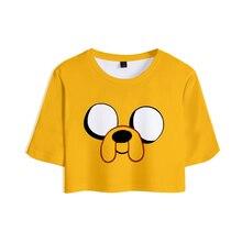 Adventure Time Print Midriff-baring T-shirt Sexy Women Fashion Popular Casual Harajuku Short Sleeve T-shirt Hot Sale