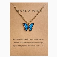 charmsmic gold color butterfly pendant necklaces for women bohemian style vivid insect charm chain necklaces make a wish card