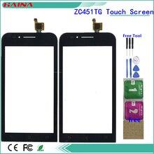 Haute qualité 4.5 'pour ASUS ZenFone Go mini ZC451TG Z00SD écran tactile numériseur panneau verre avec bande couleur noire