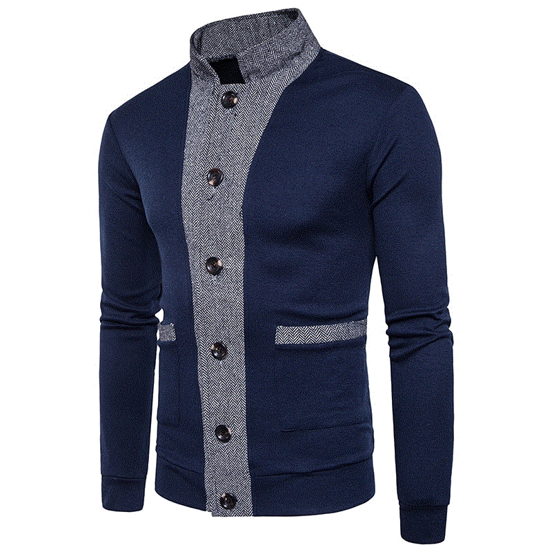 autumn and winter cardigan men's long-sleeved soft thick cotton collar pure cotton casual knitted pullover men's coat