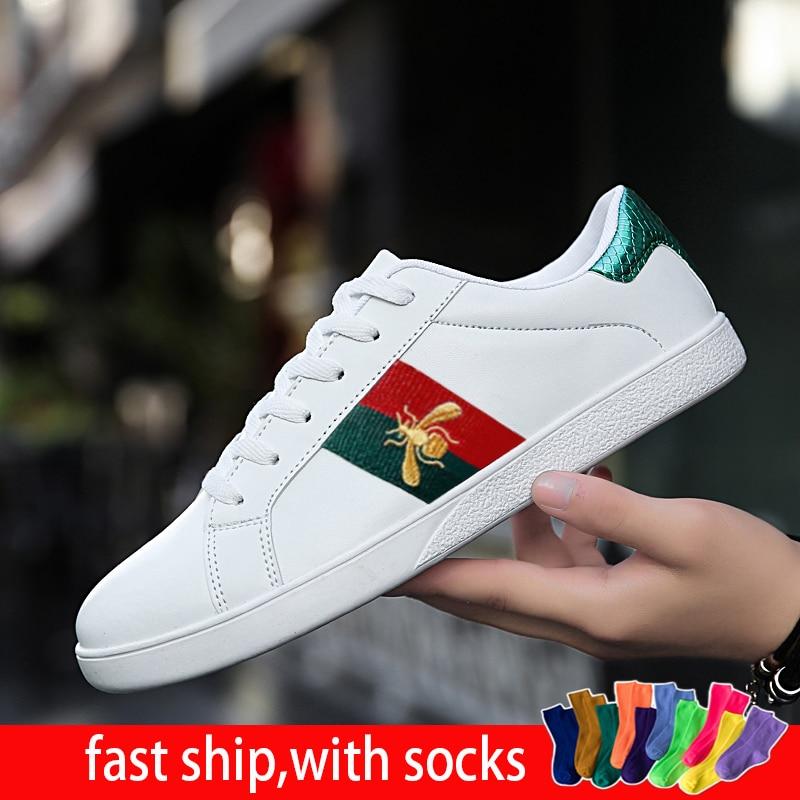 35 46 46 sapatos masculinos 2020 couro genuíno abelha designer moda cor sólida vulcanizado casal laço-up branco sapatos casuais tênis