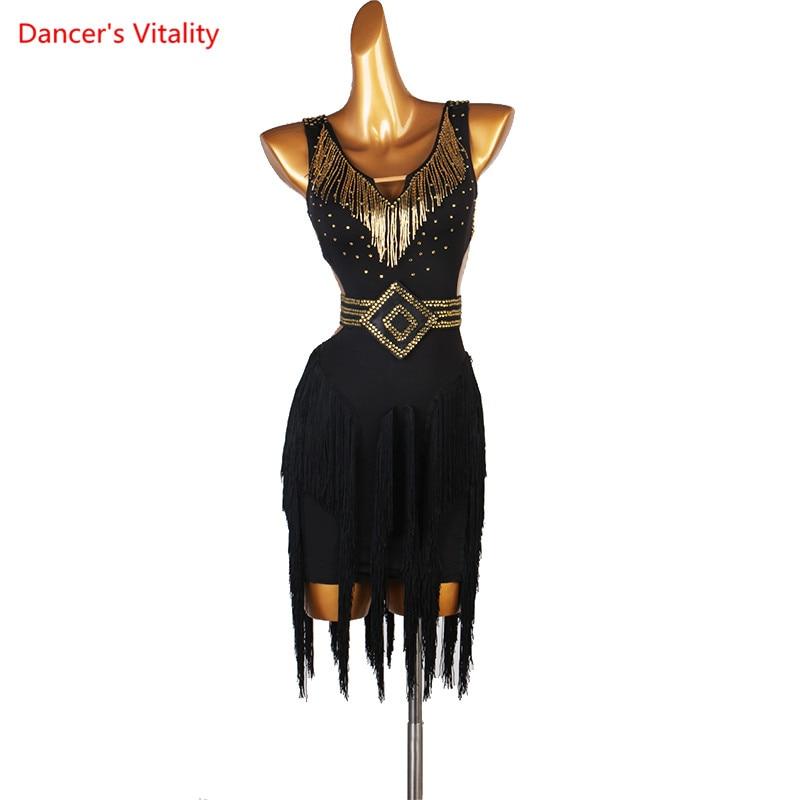 Latin Dance Competition Dress New Performance Dress High-grade Black Chinese Sexy Tassel Sleeveless Latin Dance Dress