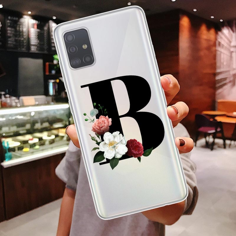 Cute Floral Gold Initial alphabet Letter Soft Phone Cases For Samsung Galaxy A51 A71 A10 A30 A50 A70S Note 10 Plus Cover Coque