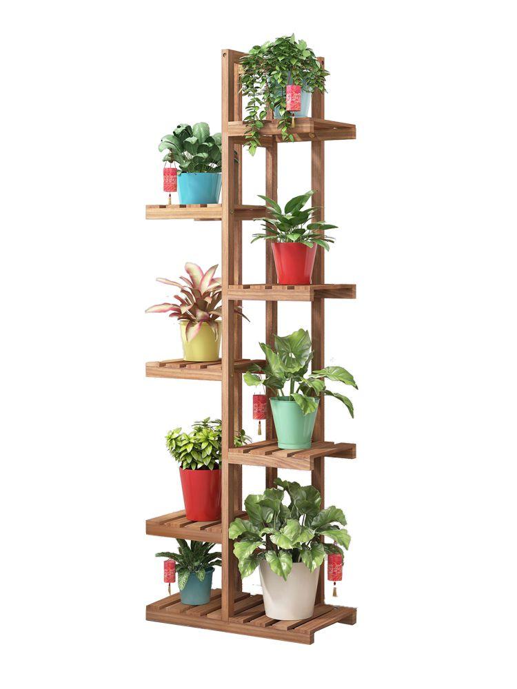 Soporte para maceta Simple de suelo, maceta de madera para balcón, sala de estar, planta de flores de varios niveles, soporte de exhibición para planta de interior