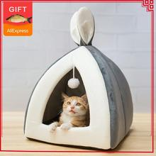 Vente chaude chat de compagnie lit intérieur chaton maison chaud petit pour chats chiens nid pliable chat grotte mignon tapis de couchage produits dhiver