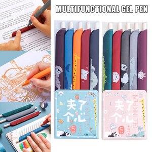 New Hot 5pcs/set 3 In 1 Multifunction Pen Color Retro Gel Pen Ruler Bookmark for Student Scrapbook Taking Note Art Writing