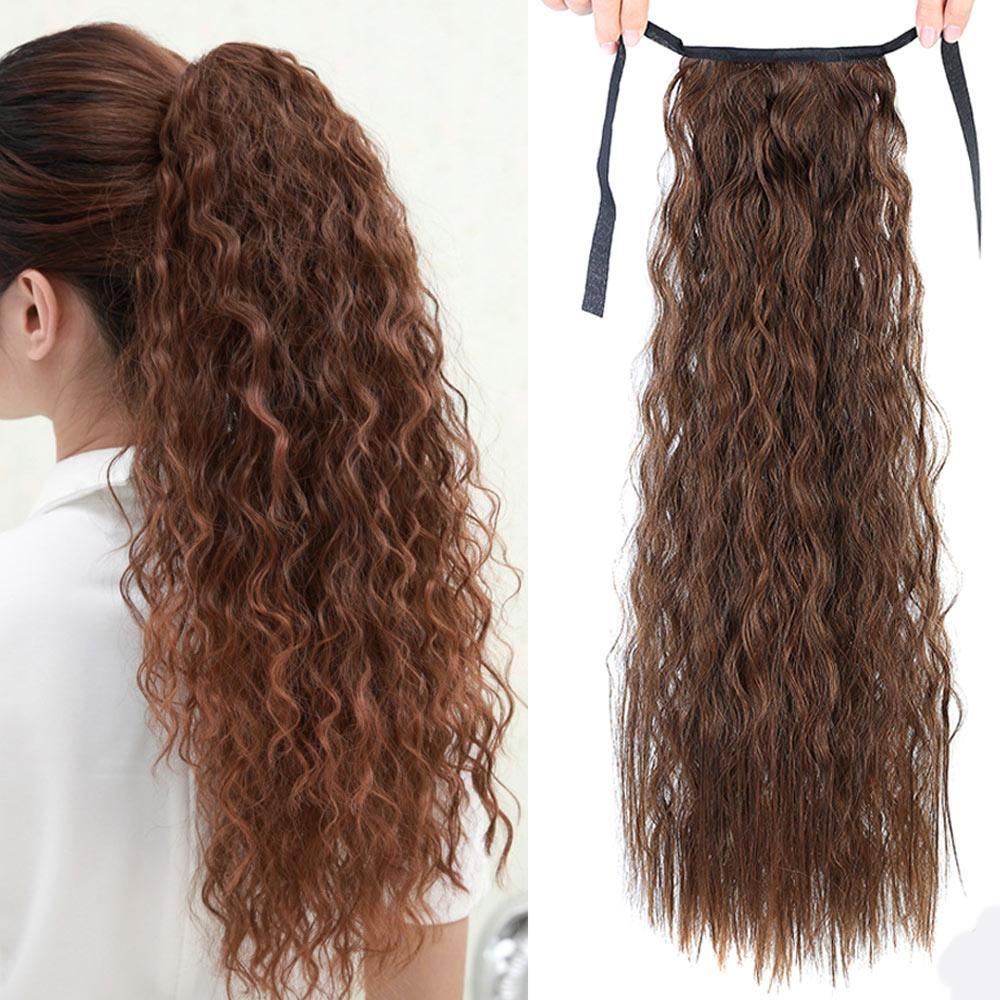 """AIYEE18 """"22"""" Extensiones de cola de caballo sintética recta Clip-in Pony Tail extensión de cabello Natural resistente al calor cabello"""