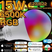 Smart Light Bulb 15W Color Changing Light E27 RGB LED Bulb WiFi Or Infrared Remote Control Dimmable Alexa Compatible Google APP