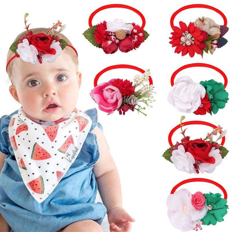 24pc/lot New  Rhinestone Pearl Lace Flower Nylon Headband,Baby Girl Children Flower Nylon Turban Kid