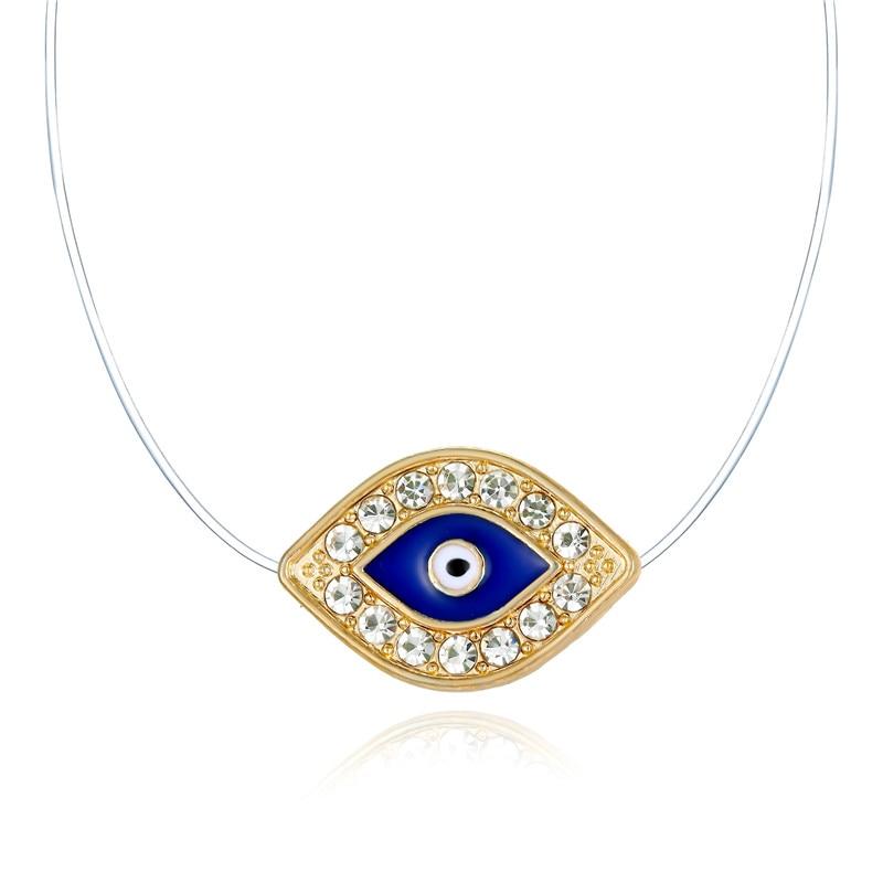 ¡Venta al por mayor! Collares de cristal bohemio con ojos de circonio, collar de cadena Invisible transparente de hilo de pescar para mujer