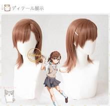 Anime Toaru Kagaku Keine Railgun Misaka Mikoto Cosplay Perücke Gerade Hitze Beständig Synthetische Haar Perücke Braun + Freies Perücke Kappe