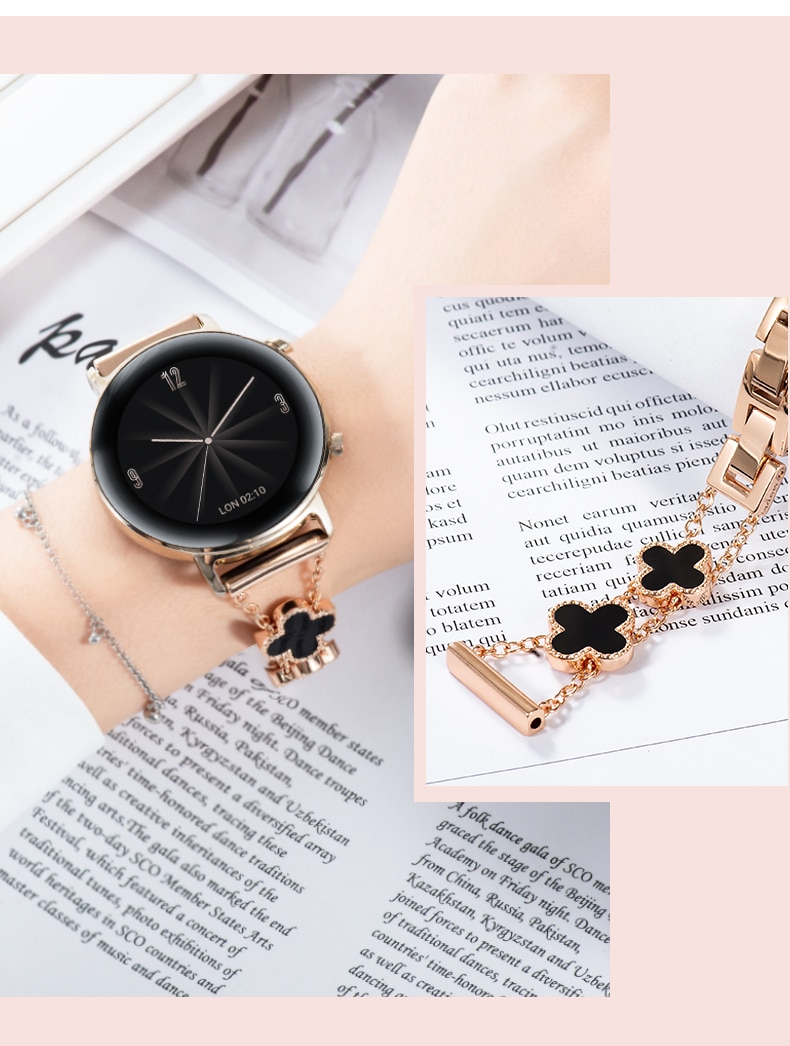 20mm Metal Strap Compatible with Samsung Galaxy Watch 3 41mm/Active 2 42mm/Huawei Watch GT/Amazfit Bip Four-leaf Clover Strap enlarge