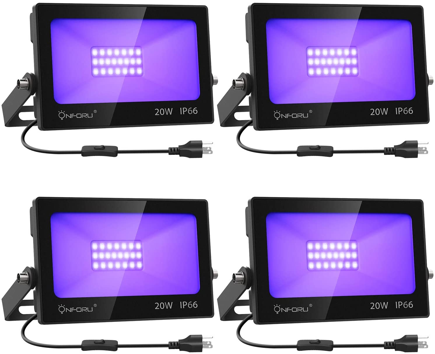 Onforu 4 Pack 20W LED Black Lights, Blacklight Flood Light with Plug and Switch, IP66 Waterproof,  for Dance Party