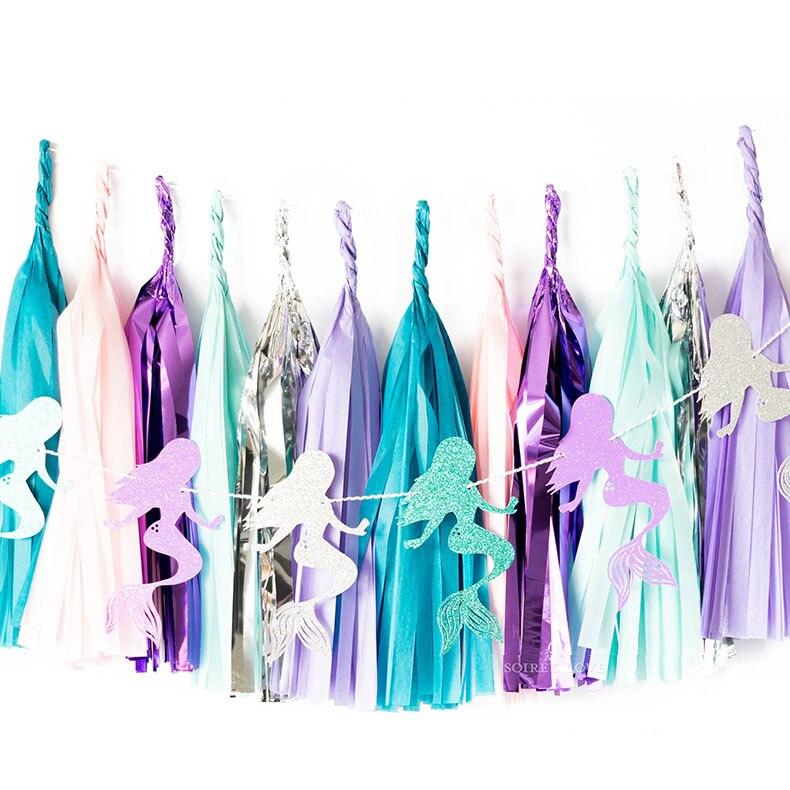 Pancarta de papel de sirena niña decoración de fiesta de cumpleaños guirnalda de feliz cumpleaños cola de sirena Shell Banner Baby shower Girl Decor