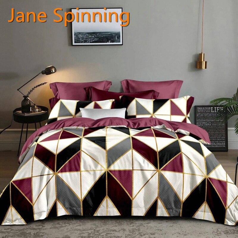 جين-طقم أغطية سرير دوار ، غطاء لحاف ، هندسة ، لون أحمر ، 05 #