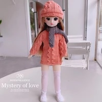 30cm bjd doll 16 full set with fashion red clothes cute hat soft wig female body doll for kids christmas present girl toys gift